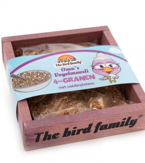 Voederplateau Roze Oma's Vogelmuesli - 4 Granen
